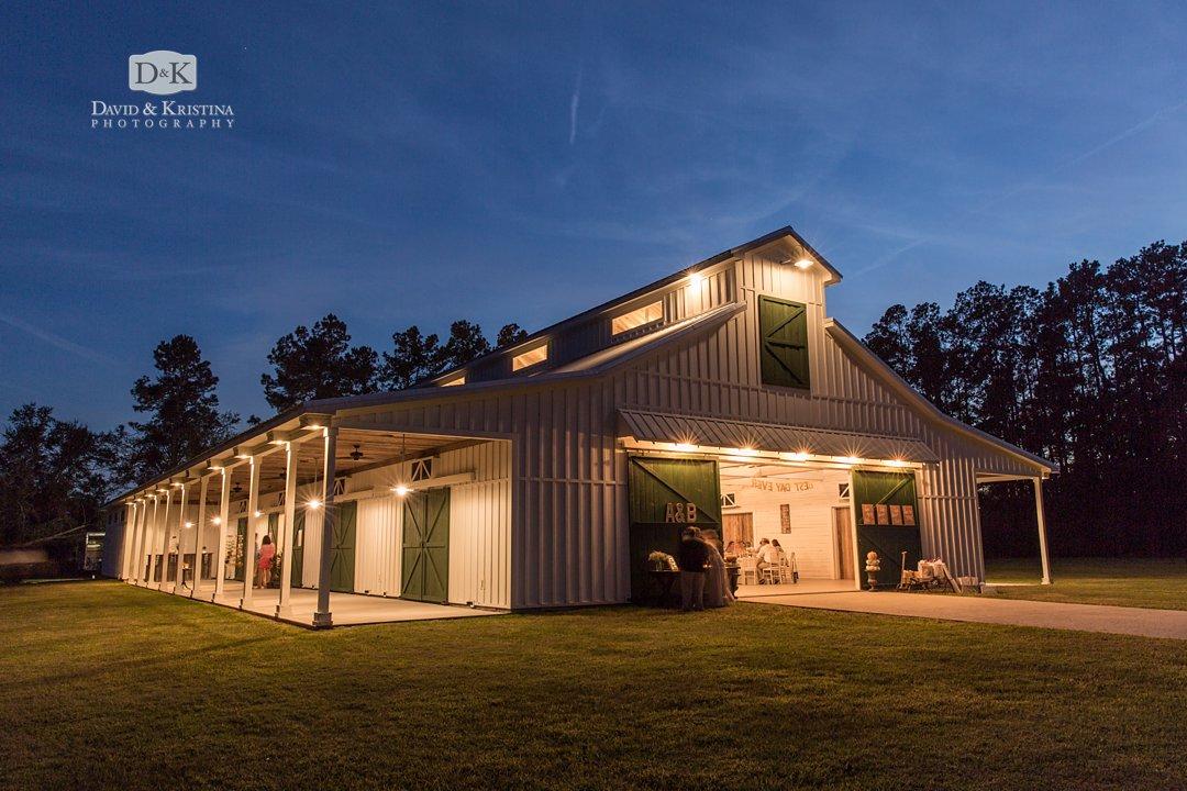 Wildberry Farm wedding reception in barn
