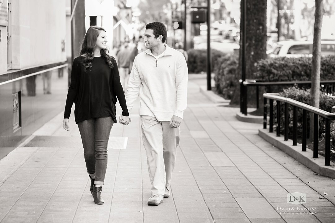 engagement photos on main street Greenville sc