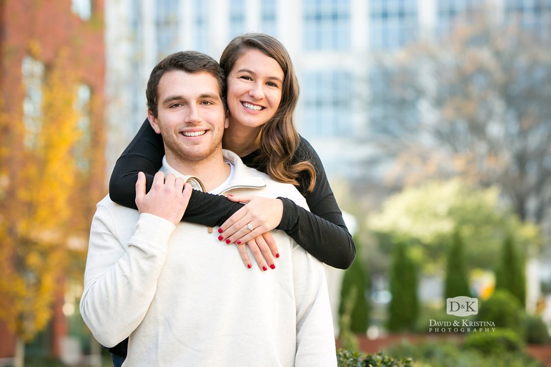 Engagement photos on Main Street downtown Greenville SC
