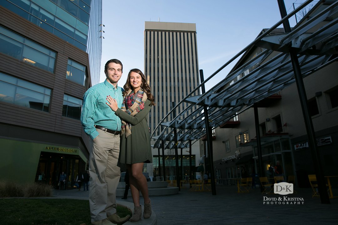 engagement photo at One Plaza in Greenville SC