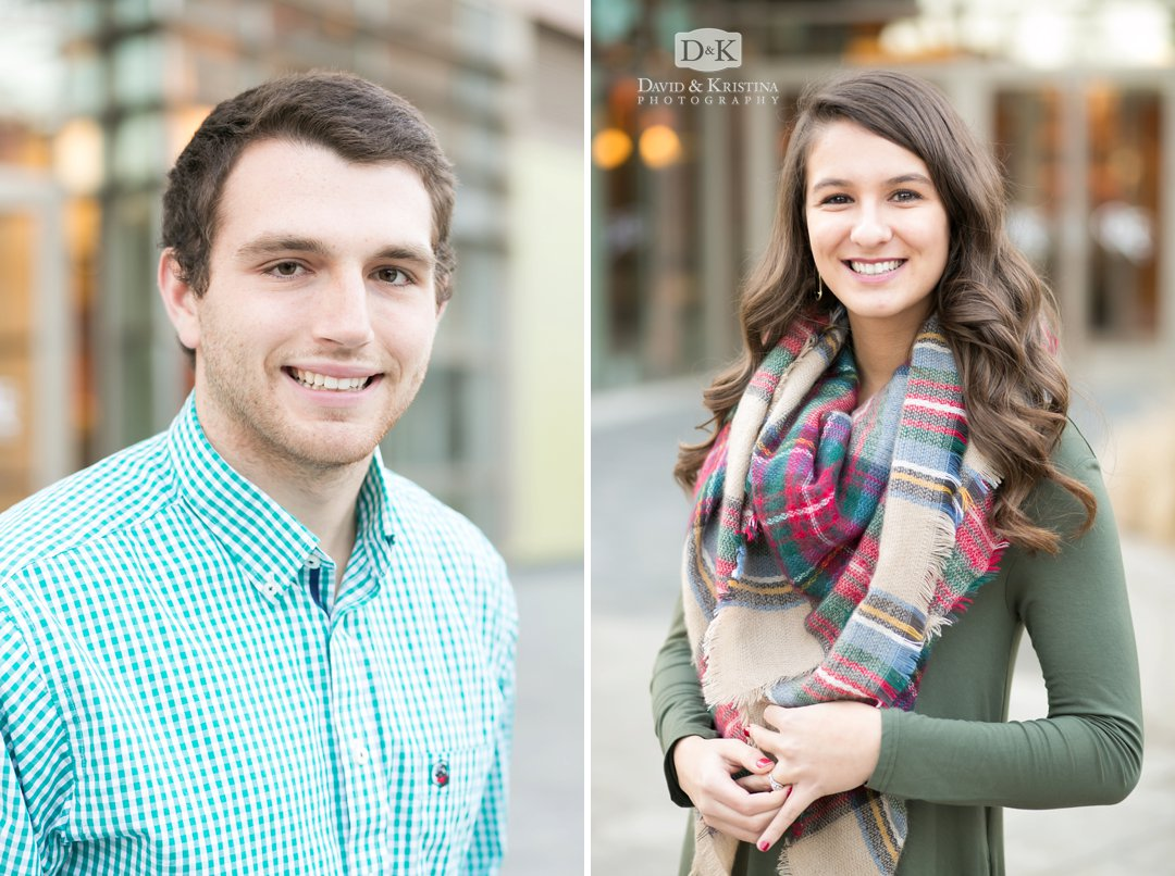 individual head shots during engagement photo session