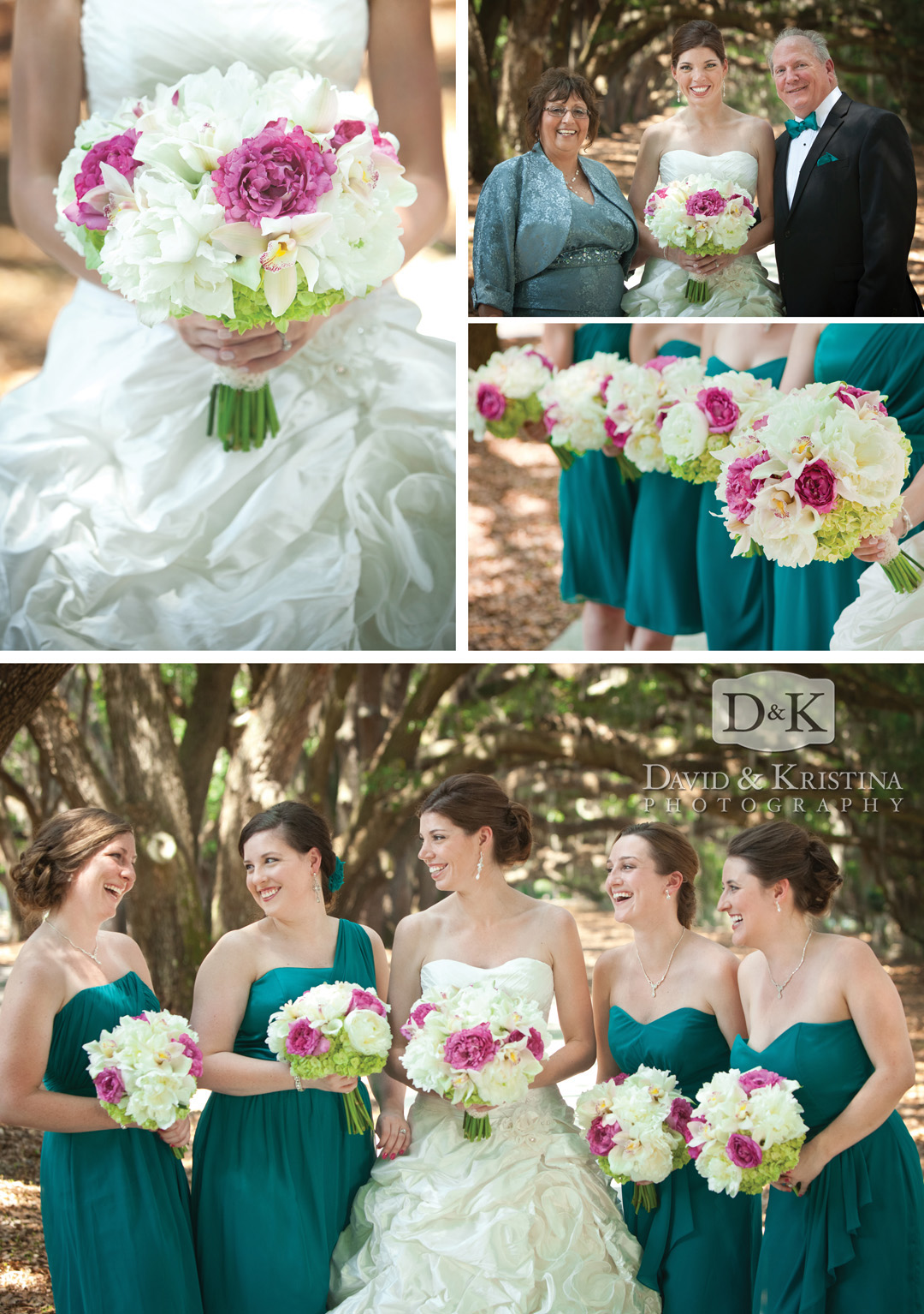 bridesmaids at Avenue of the Oaks