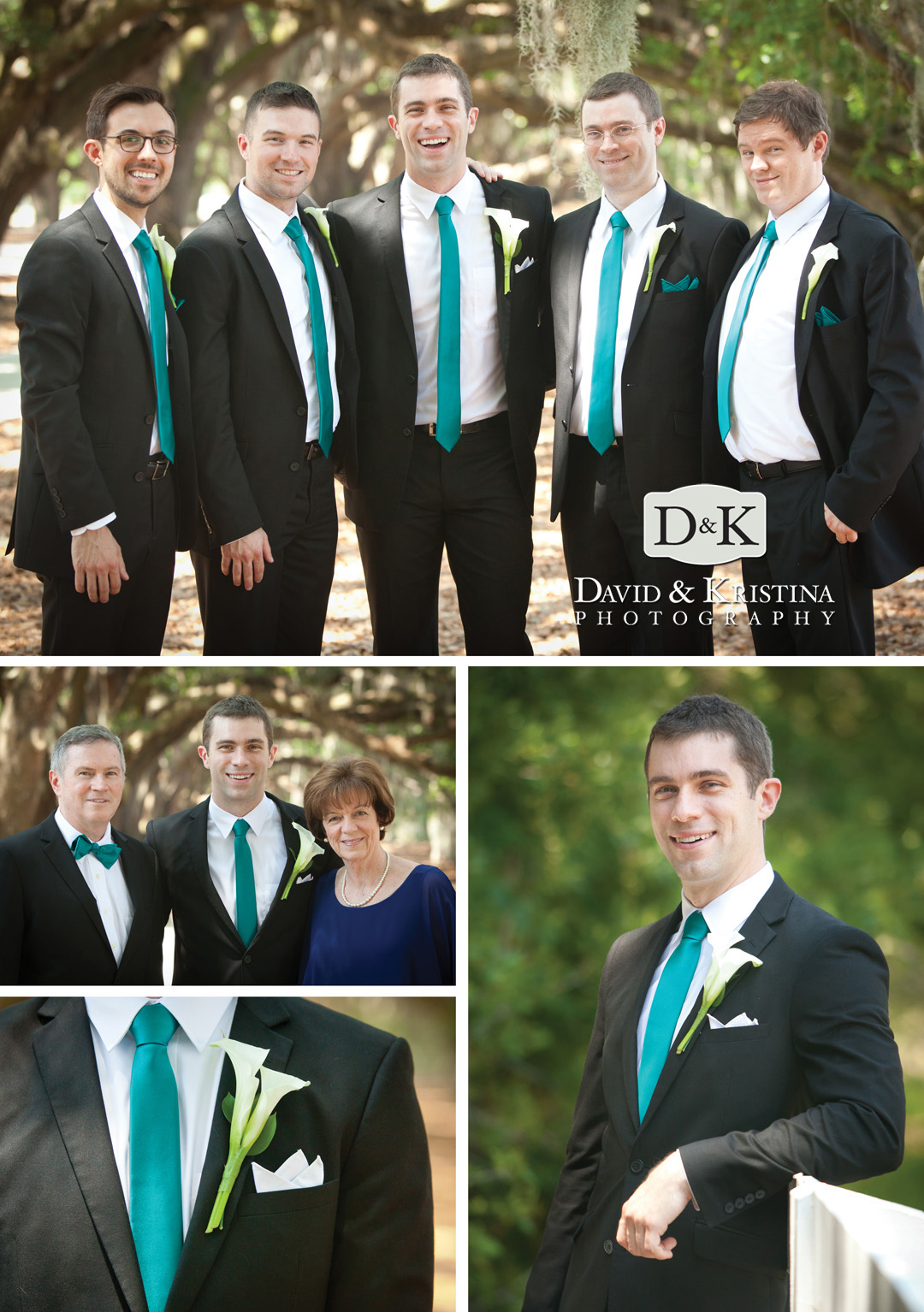 Groomsmen at Avenue of the Oaks