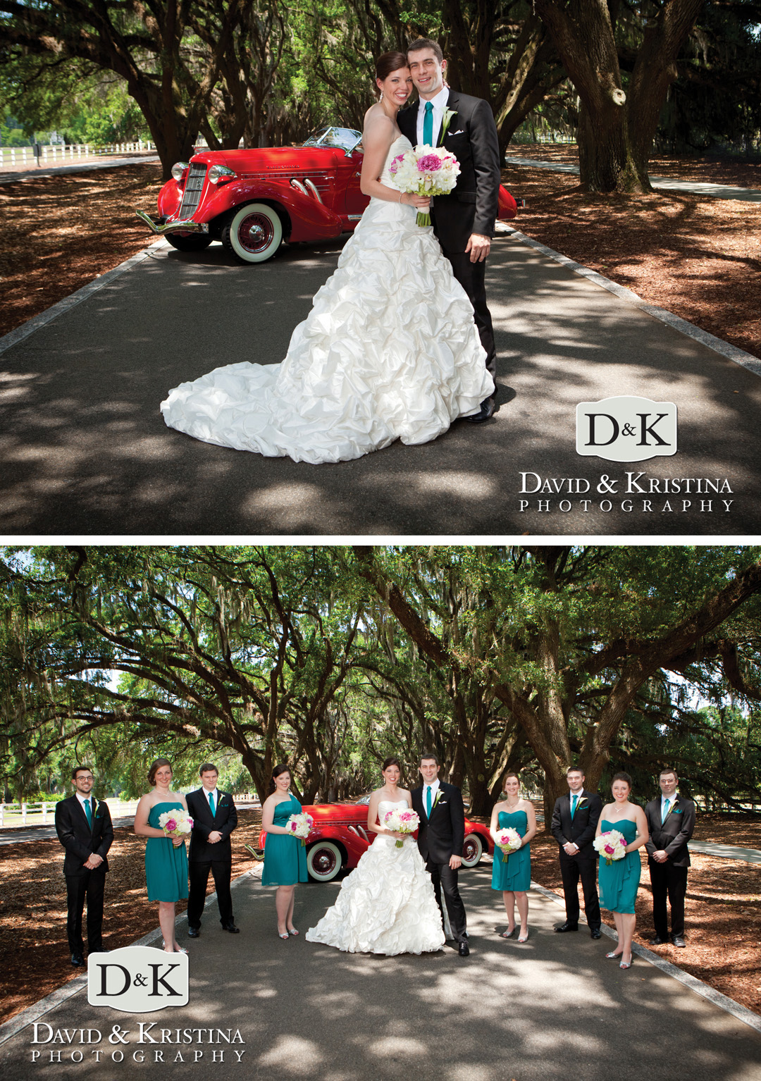 bridal party at Avenue of the Oaks
