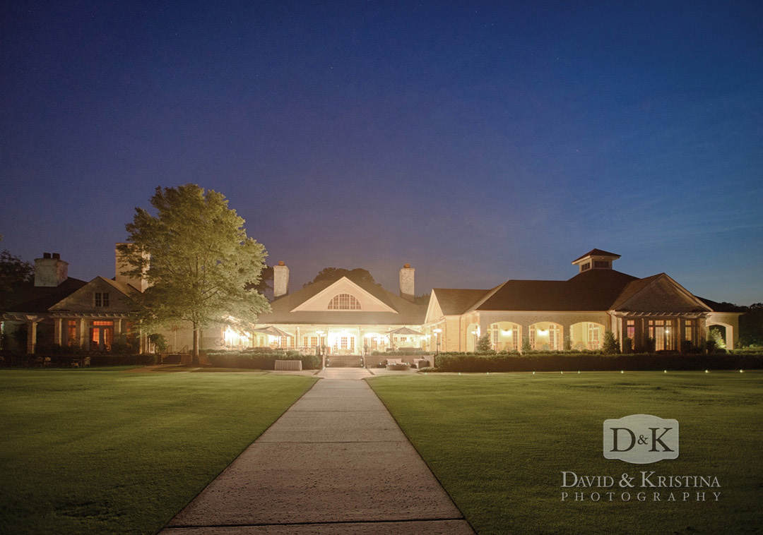 Belfair Plantation at night during wedding reception
