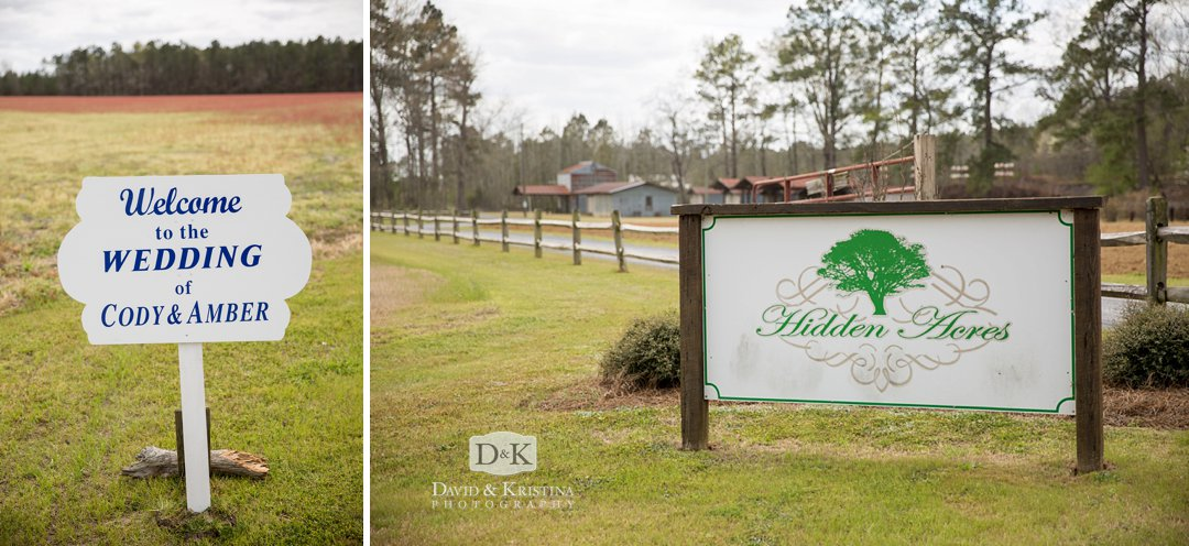bride and groom welcome sign at Hidden Acres