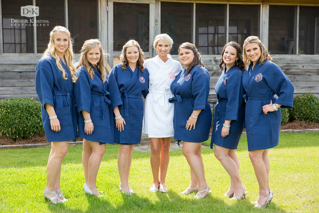 bride and bridesmaids in monogramed robes