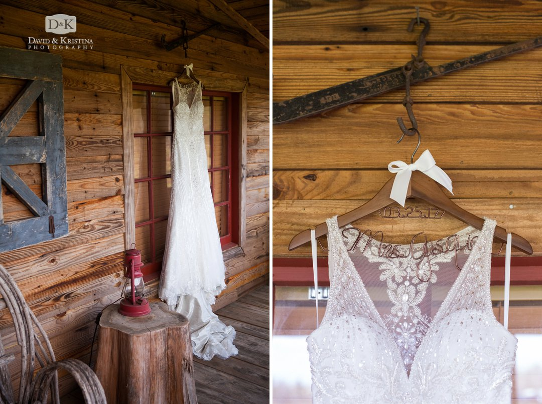 bride's dress hanging on front porch