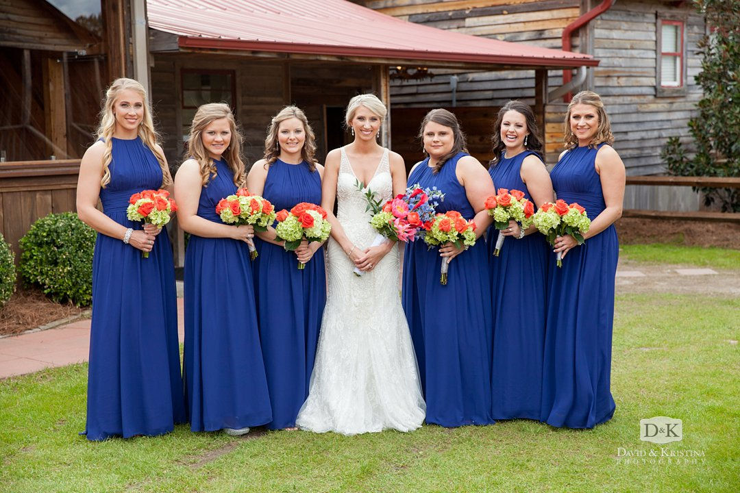 bridesmaids in marine blue dresses