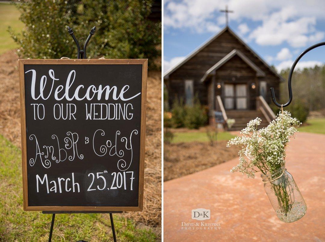 chalkboard welcome sign at Hidden Acres wedding