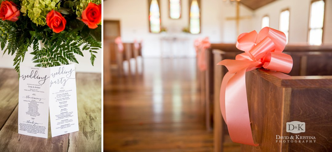wedding programs and pink bow on church pews