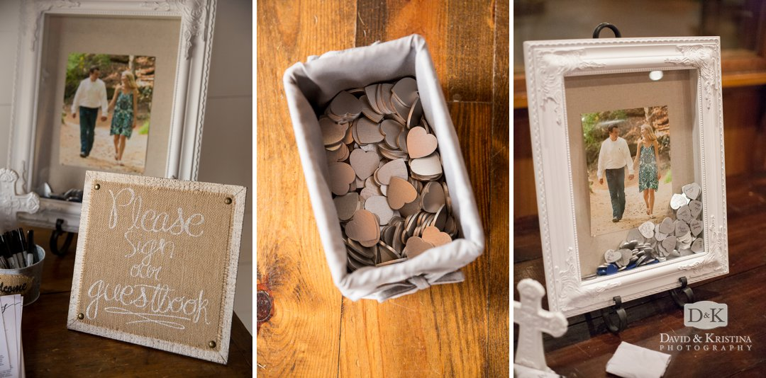 silver hearts for people to sign and put into picture frame