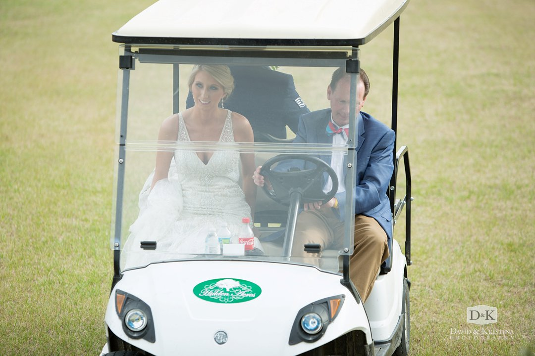 bride arriving at church in golf cart