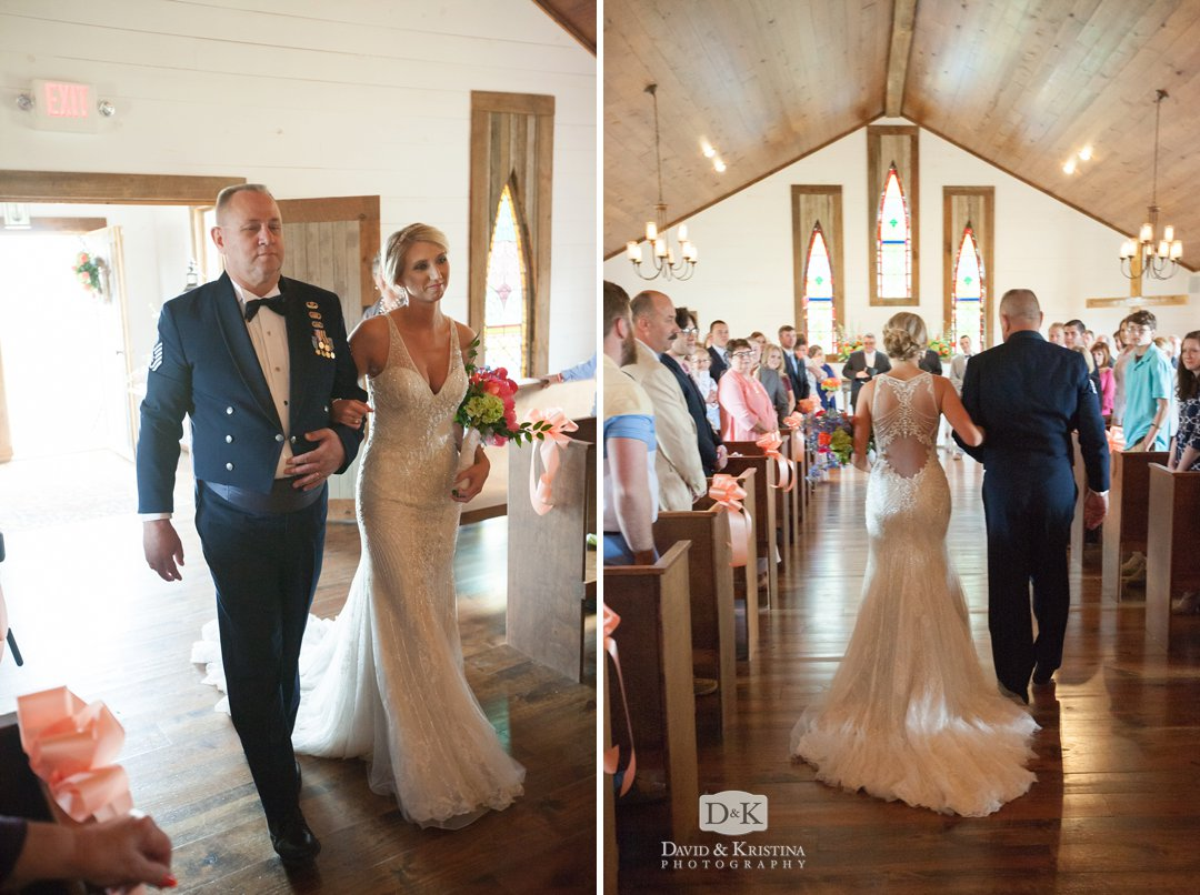 Amber's dad walks her down the aisle