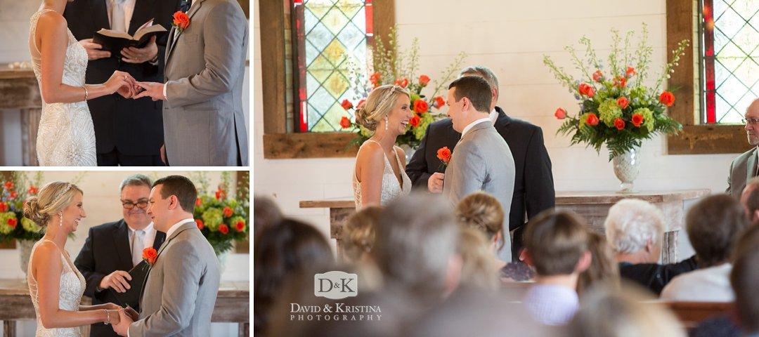 ring exchange at Hidden Acres Wedding