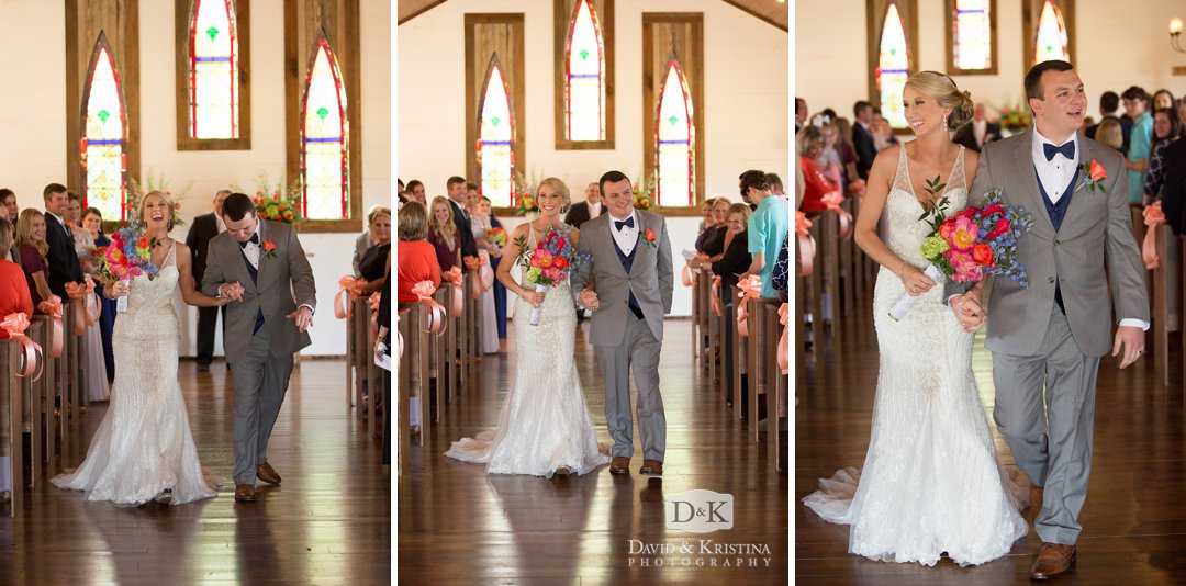 Cody and Amber walk up the aisle as husband and wife