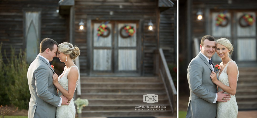 Bride and groom in front of wedding chapel