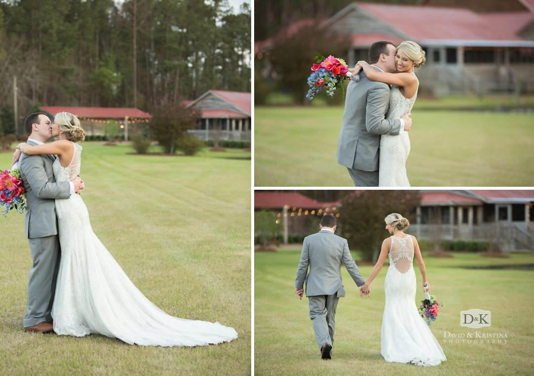 bride and groom kissing at Hidden Acres