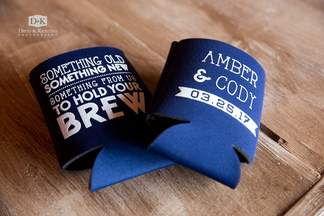 wedding koozie Something old something new something from us to hold your brew