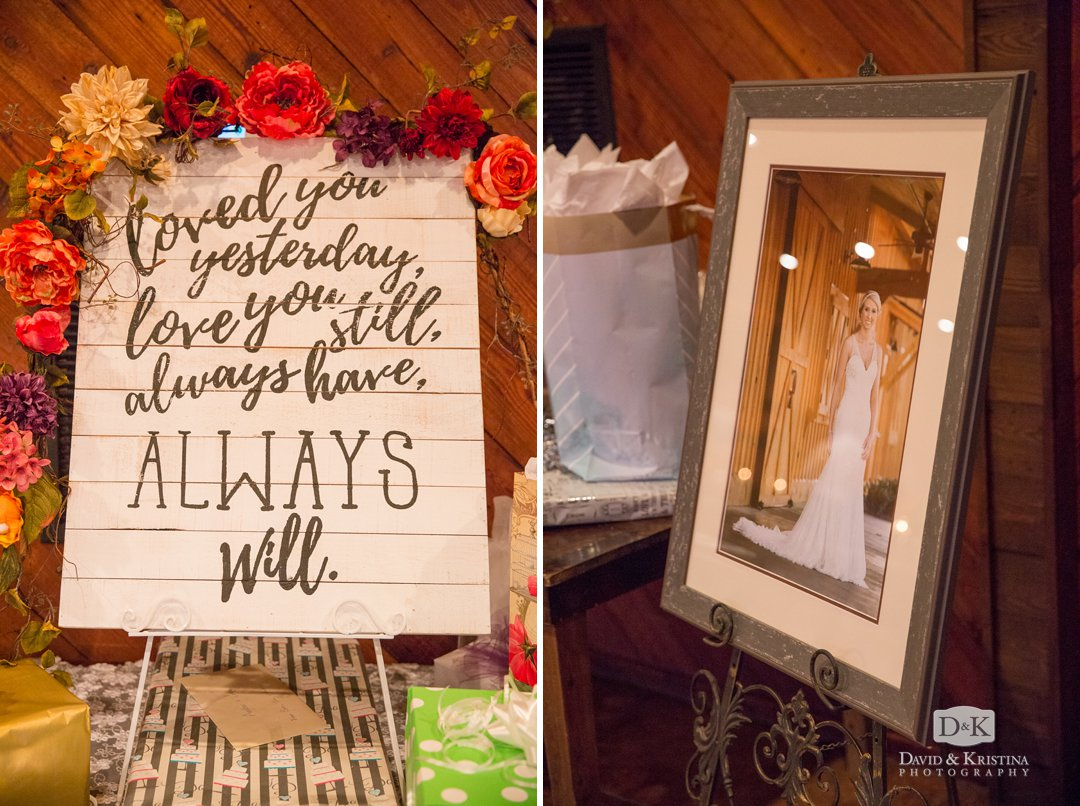 quotes on wooden boards at wedding reception