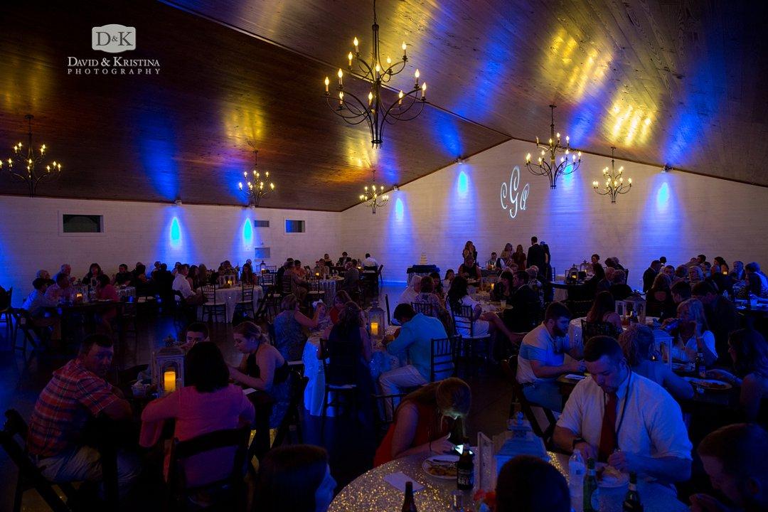 reception dinner at Hidden Acres wedding venue