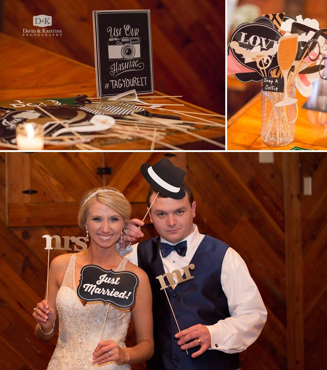 selfie station at wedding reception