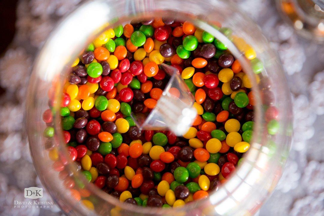 skittles on wedding candy bar