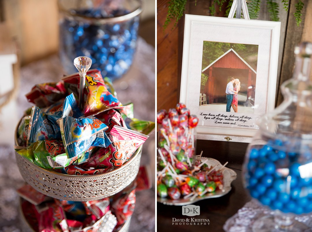 candy bar display for wedding reception