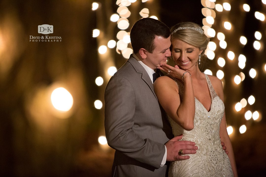 Hidden Acres tress wrapped in lights for wedding photos