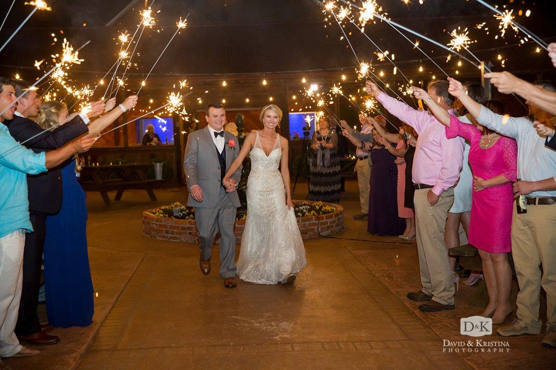 sparkler exit at Hidden Acres wedding venue in Marion
