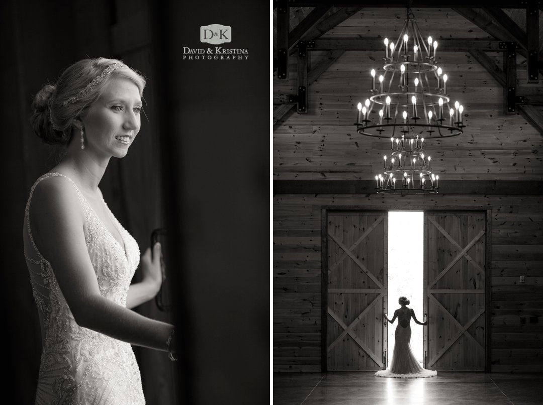 bridal portrait in barn doors at Windy Hill Wedding and Event Barn