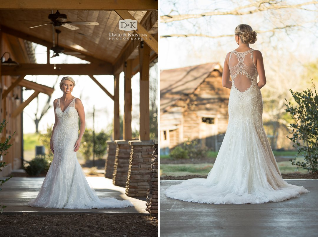 bridal portrait on front porch of wooden barn