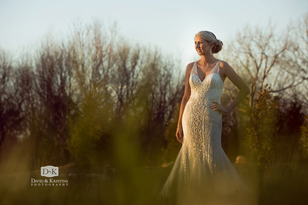 late afternoon sunlight bridal portrait on farm