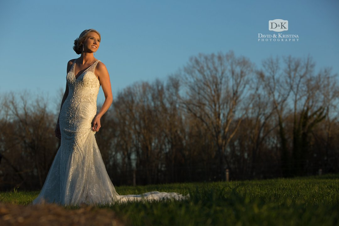 late afternoon sunlight farm bridal portrait
