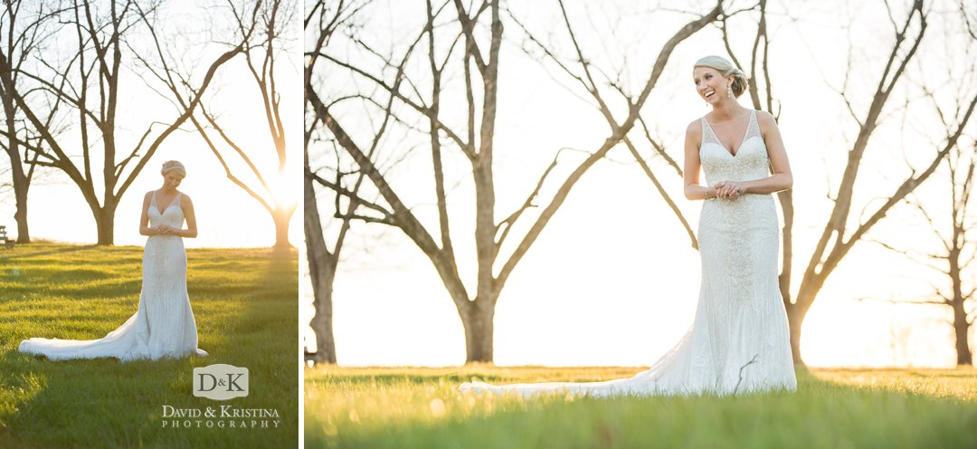 sunset bridal portrait on farm in February