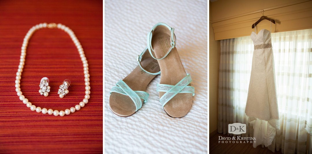 pearl necklace, wedding shoes and dress