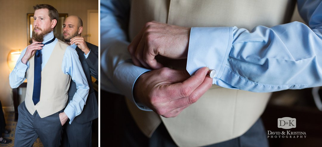 Jon putting on tie and cufflinks