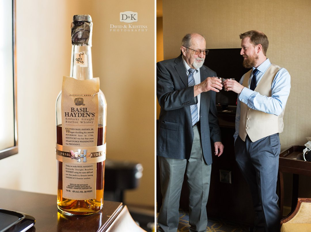 groom and father drinking Basil Hayden's whiskey on wedding day