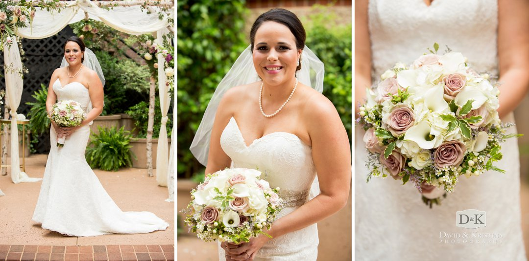 bridal portrait at Larkin's courtyard Florals by David McMillan