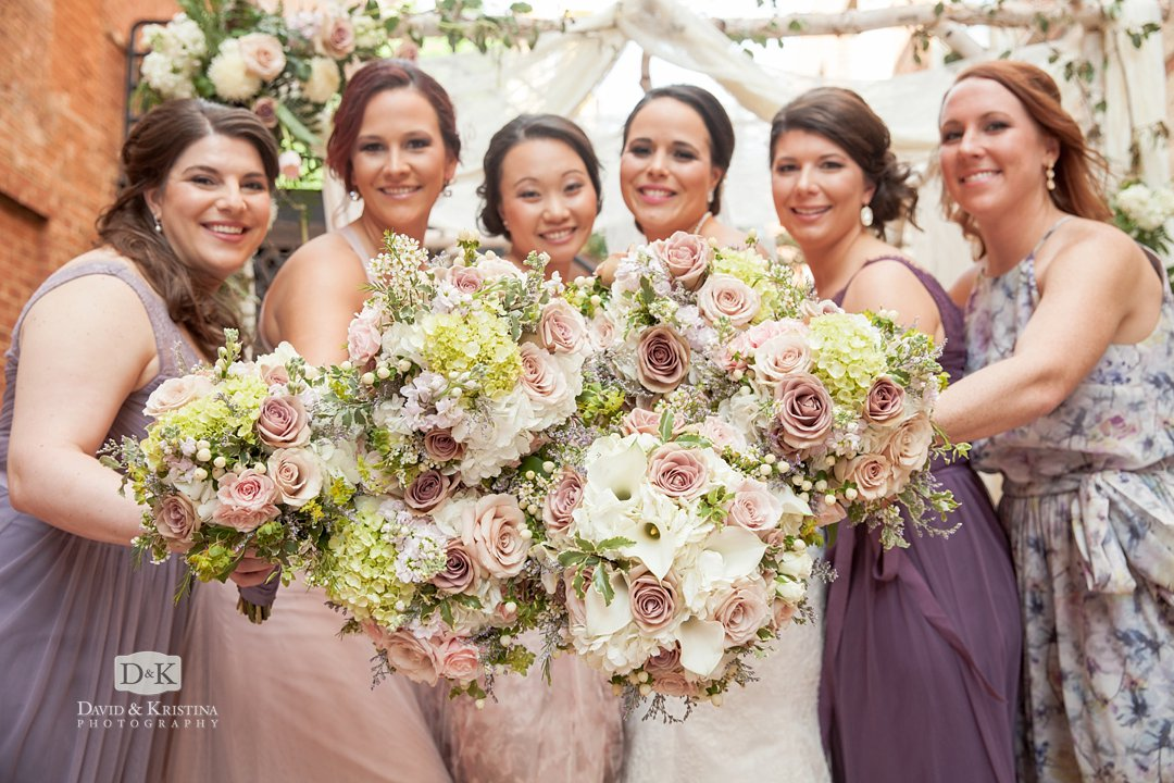 wedding bridesmaids bouquets by David McMillan Memories by McMillan
