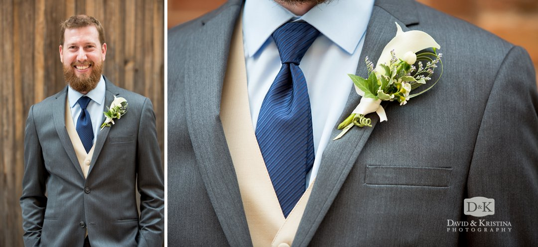 Groom's portrait and boutineer by David McMillan