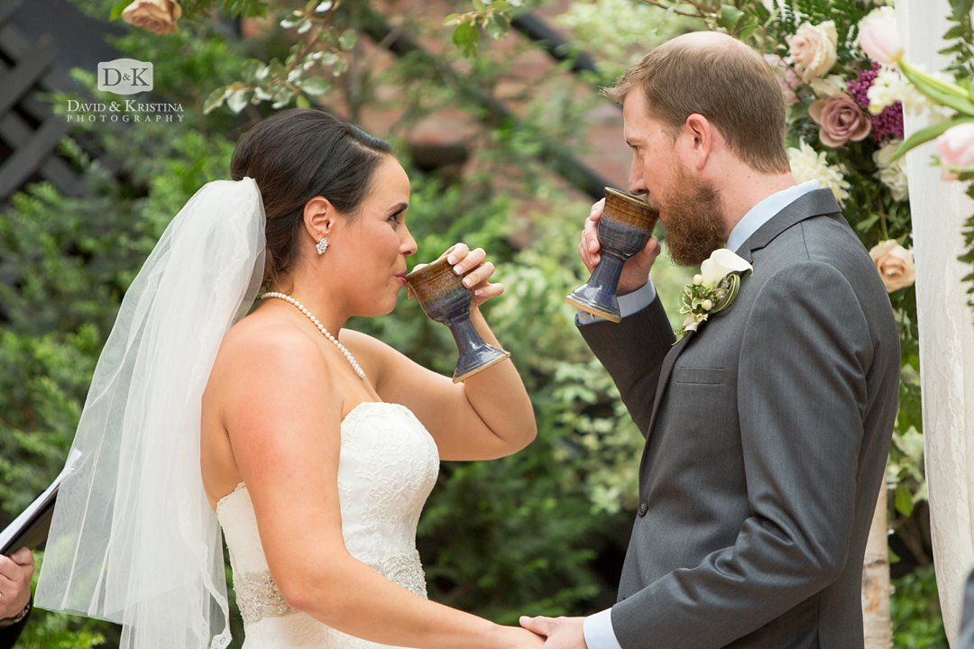 drinking wine during Jewish wedding ceremony