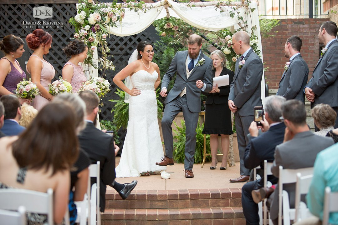 stomping on glass during Jewish wedding ceremony at Larkin's on the River