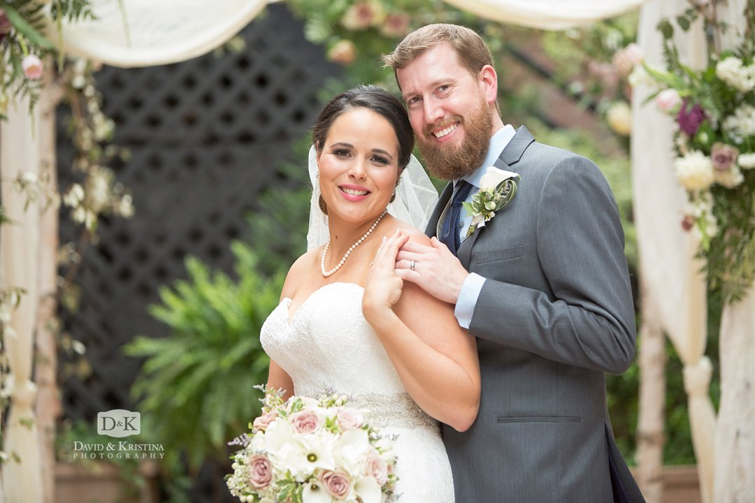 Bride and groom at Larkin's courtyard