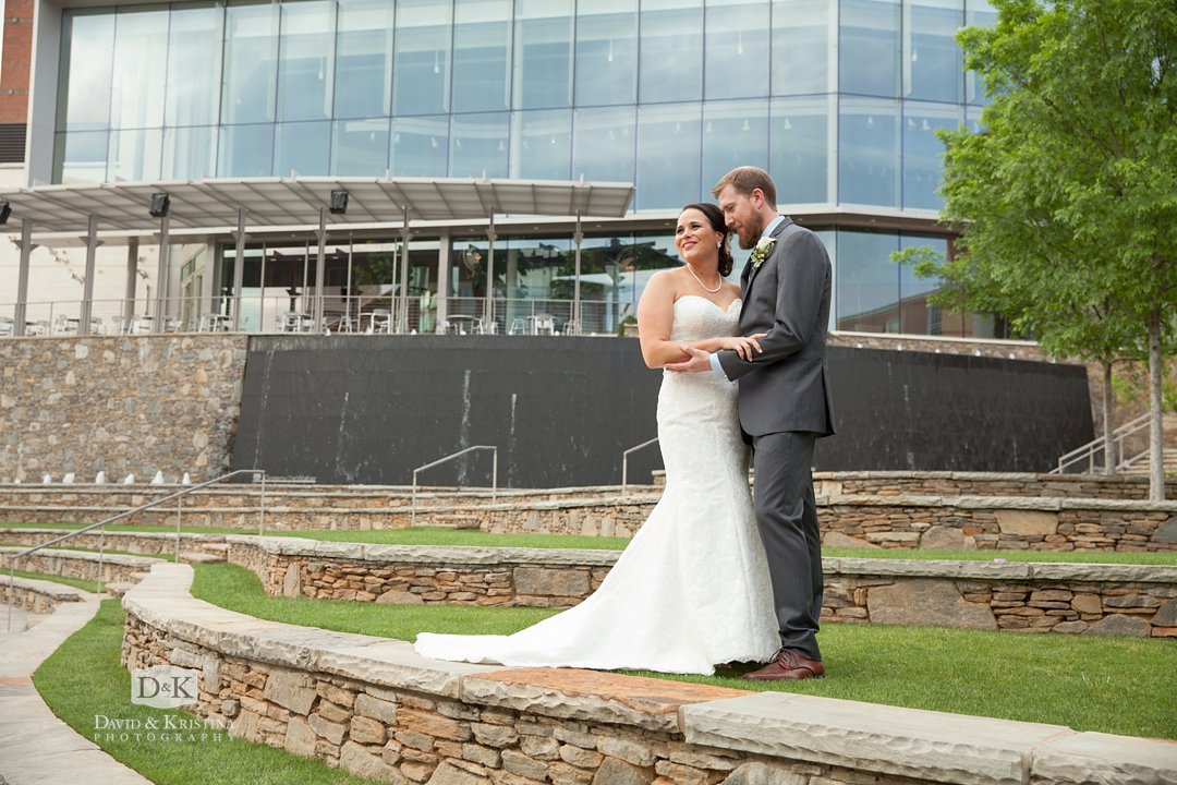 wedding photos behind Peace Center at Larkin's on the River