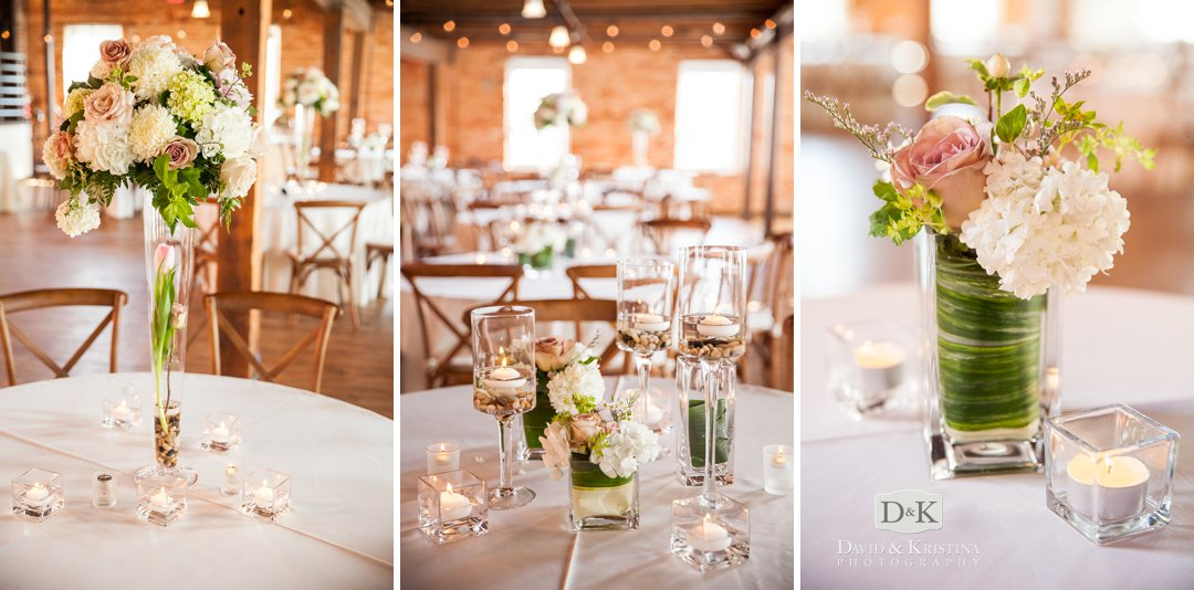table arrangements at Larkin's Cabaret Room wedding
