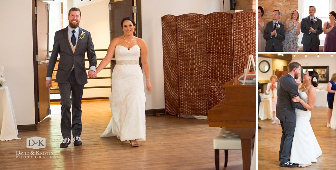 bride and groom enter Cabaret Room at Larkin's