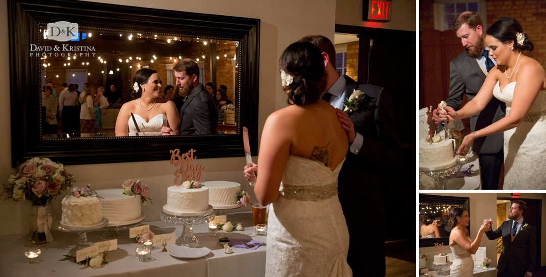 cake cutting in front of mirror at Larkin's Cabaret Room
