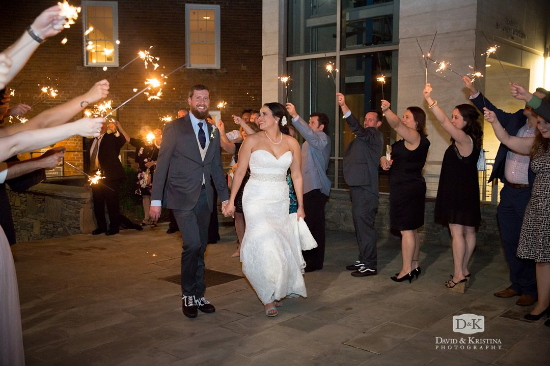 sparkler exit from Larkin's wedding