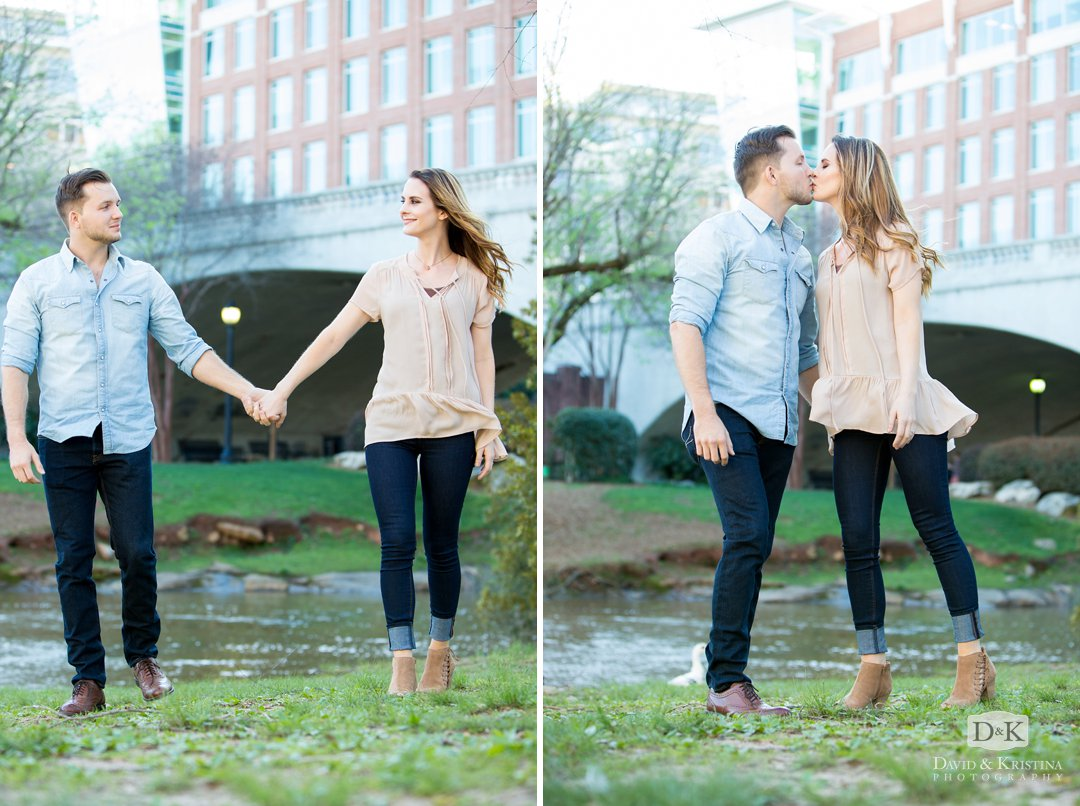 Engagement photos at the Reedy River Greenville SC